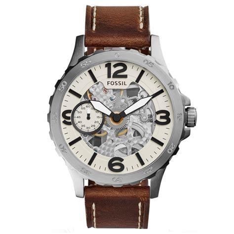 jam tangan fossil me3128 nate mechanical brown leather arlojinesia
