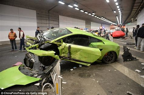 crashed red lamborghini outrage as lamborghini and ferrari crash and wreck