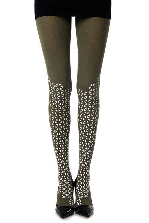 green patterned leggings quot beat goes quot triangles patterned tights in green melange