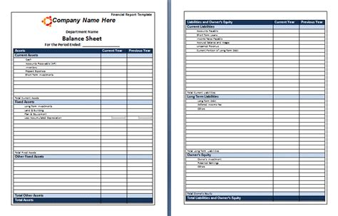 financial report template free printable word templates