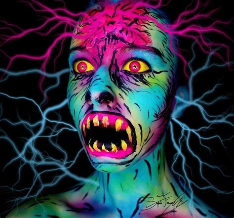 scary colors the cool neon makeup transformation you to see