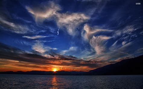 sunset mountain lake clouds wallpapers sunset mountain