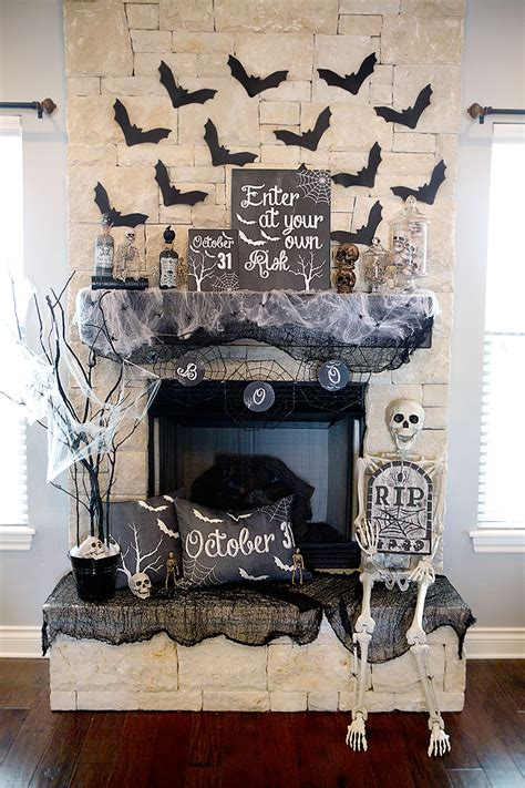 decor links spooky halloween mantel decor black and white halloween