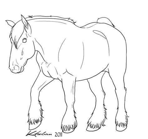 Draft Coloring Pages Draft Horse Lineart By Kholran On Deviantart by Draft Coloring Pages