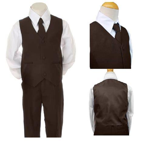Newborn Baby Boy Waistcoat Vest Infant Toddler Boys Easter Formal Wedding Vest Sets Suits Brown S 7 Ebay