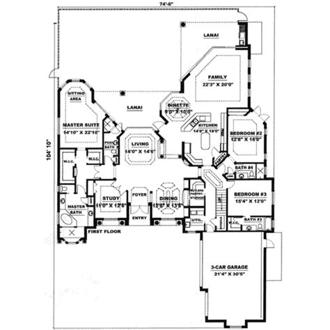 Mediterranean Style House Plan 3 Beds 3 5 Baths 4000 Sq Floor Plans 4000 Sq Ft