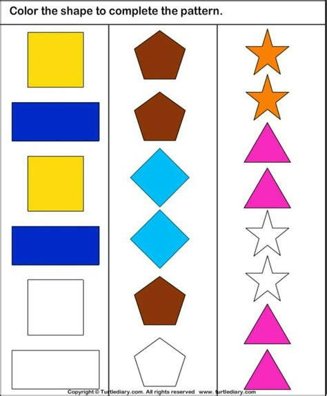 pattern shape game 32 best logic and reasoning worksheets images on pinterest
