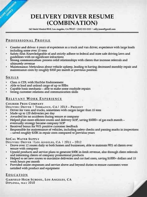 resume format for driver delivery driver resume sle resume companion