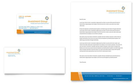Investment Services Business Card Letterhead Template Word Publisher
