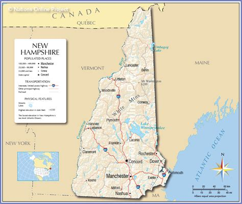 unh map a map of new hshire state