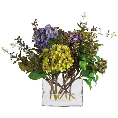 mixed silk hydrangea in rectangle vase 4670 nearly