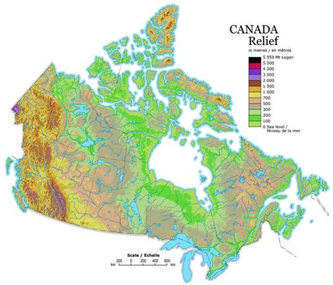 canadian mountains map canada relief map