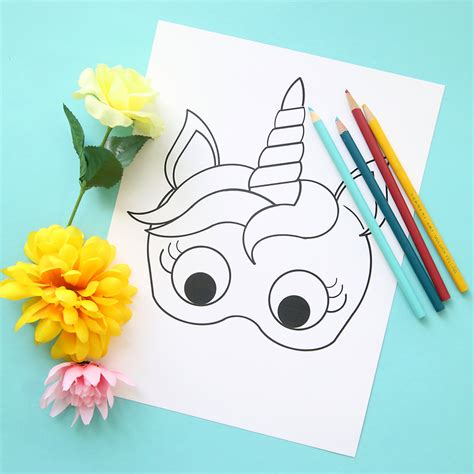 printable unicorn paper unicorn masks to print and color free printable it s
