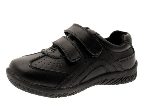 black leather school shoes boys black leather school shoes velcro smart formal
