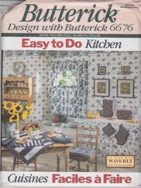 butterick sewing pattern 6676 easy kitchen d 233 cor curtains