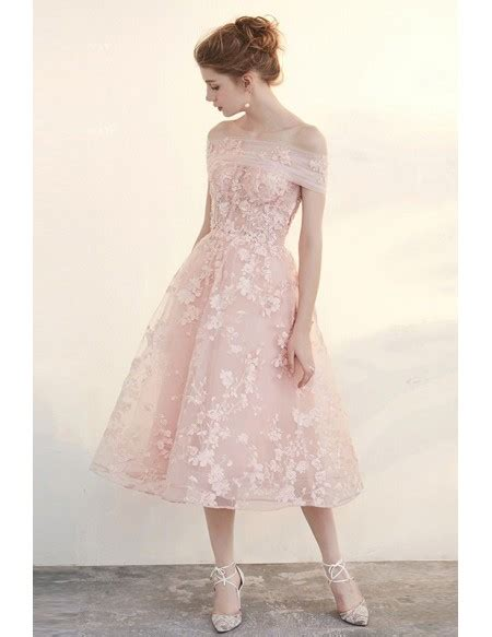 Beautiful Pink Dress blush tea length wedding dresses the shoulder
