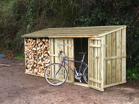 Shed With Wood Store by Garden Sheds Cool How To Make A Wooden Bike Shed