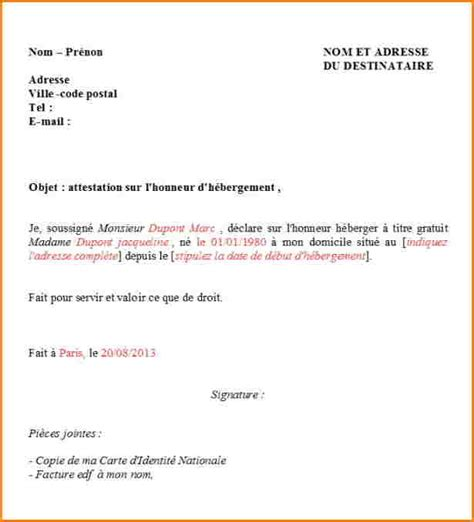 Exemple De Lettre Justificatif Modele Attestation D Hebergement Visa Etudiant Document