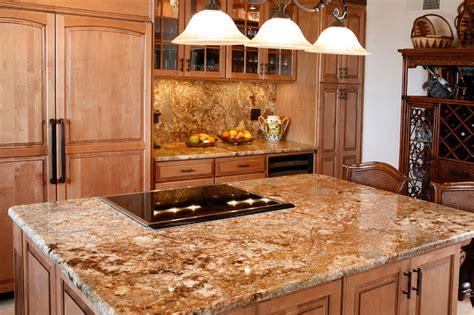 golden crystal granite island traditional kitchen san diego  rock  surfaces