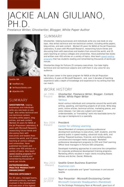 resume exles for freelance writers resume sles visualcv resume sles database