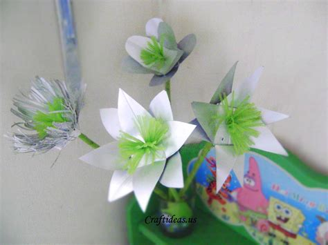 Floral Craft Paper - recycling for beautiful flower from milk boxes