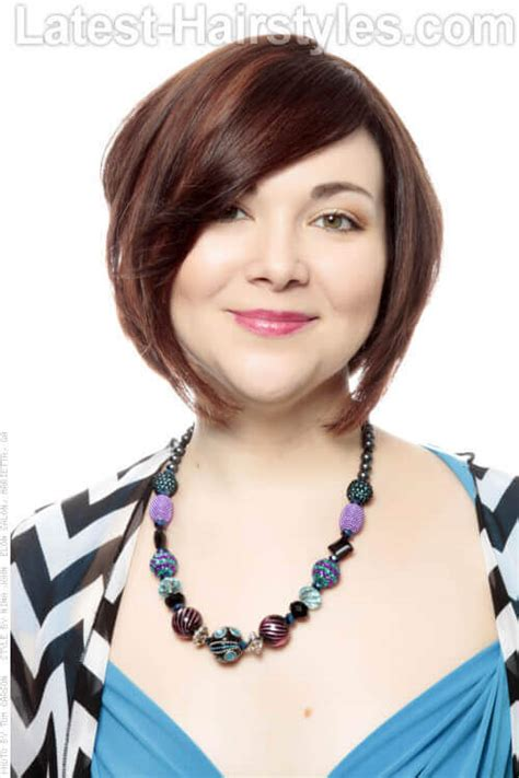 chin length angled bob haircuts best hair for round face shape with double chin short