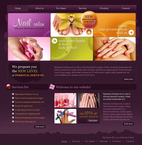 Nail Salon Website Template 24273 Free Spa Website Templates