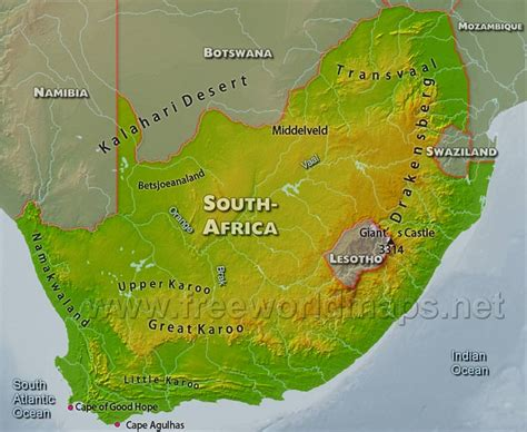 south africa physical map ilstuafrica south africa geography