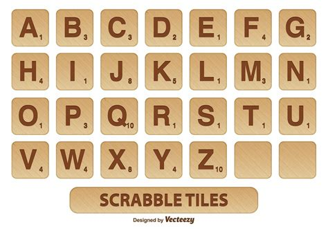 is ai a word in scrabble scrabble tile vector set free vector stock