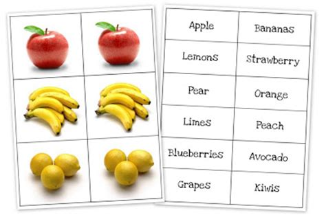 Match Com Gift Card - fruit and vegetable matching cards preschool printables