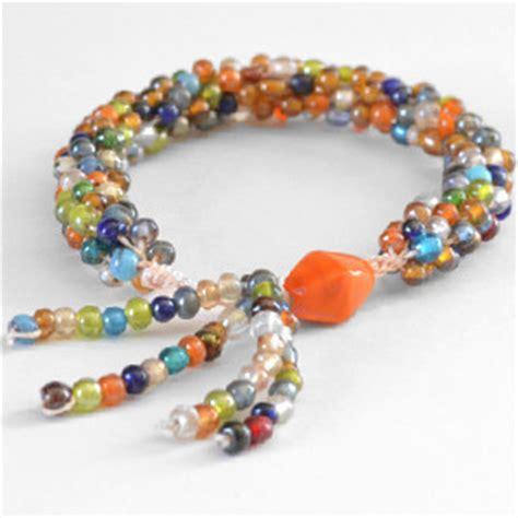 Tasseled Beaded Bracelet tasseled kumihimo bracelet allfreejewelrymaking