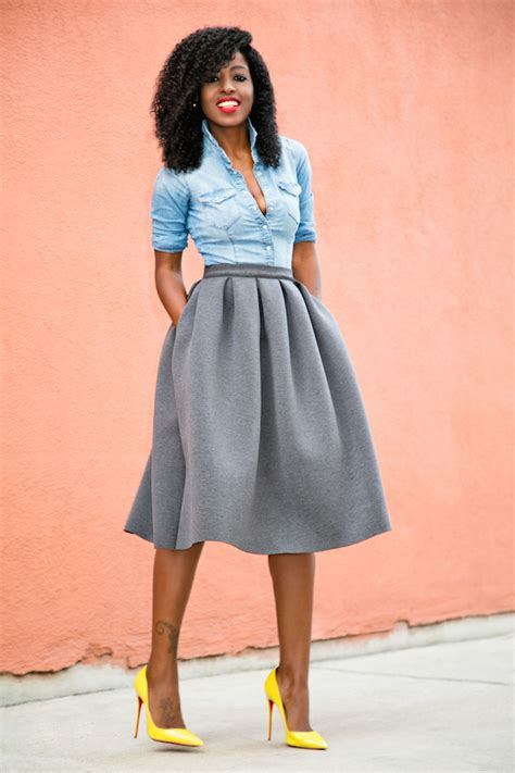 style pantry fitted denim shirt pleated skirt