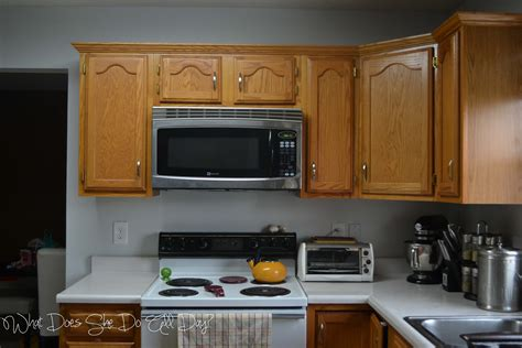 gray kitchen walls painted kitchen cabinets before and after what does she