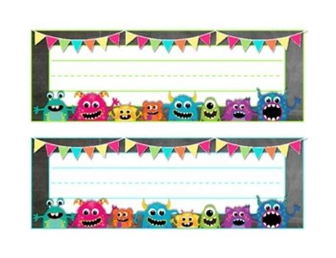 printable monster name tags monsters on chalkboard large name tags desk plates by