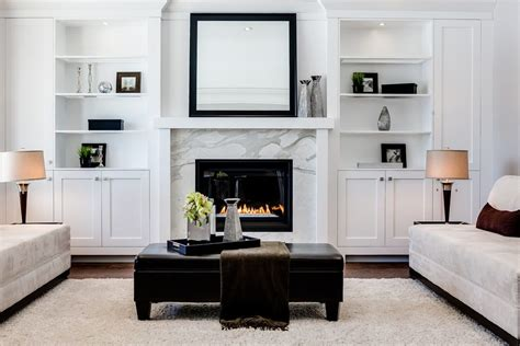 fireplace built ins living room transitional with gray