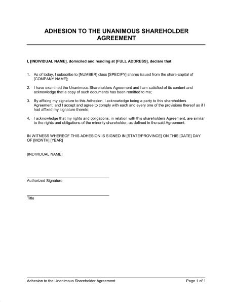 Adhesion To The Unanimous Shareholder Agreement Template Sle Form Biztree Com Key Agreement Template