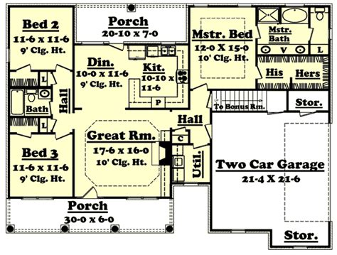 1400 Sq Ft House Plans by Country Style House Plans 1500 Square Foot Home 1 Story