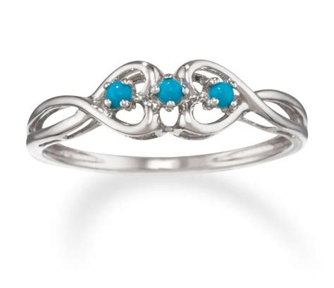 trilogy rings turquoise promise ring in 14k