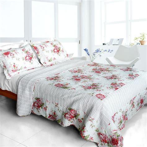 Cotton Patchwork Quilt - pink world 100 cotton 3pc patchwork quilt set