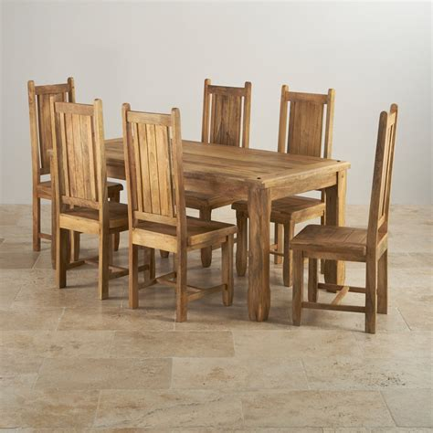 Wooden Dining Table And 6 Chairs Baku Light Dining Table In Mango 6 Mango Chairs