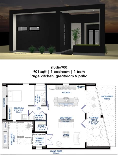 studio900 small modern house plan with courtyard 61custom