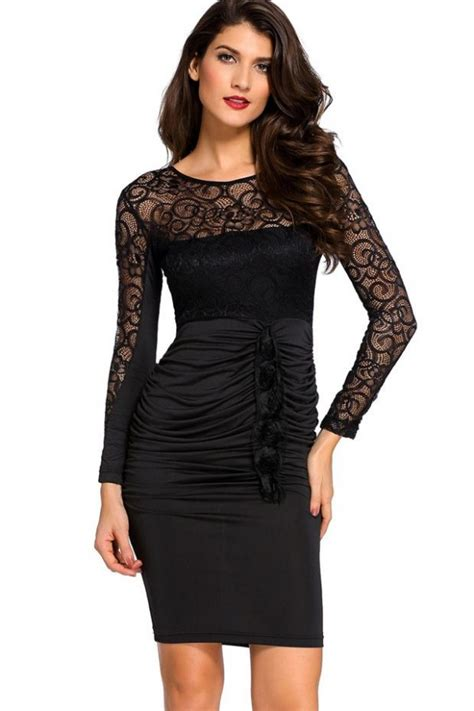 black hollow lace v back ruched sleeve bodycon dress sleeve dresses