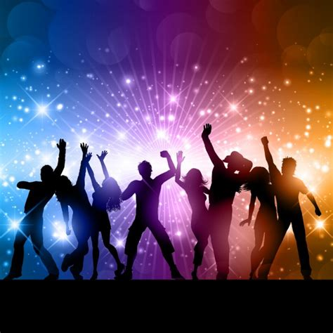 theme definition dance shiny background with dancing people silhouettes vector