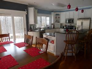 Accent Color For White And Gray Kitchen by Blue Amp Gray Kitchen With Red Accents Home Pinterest