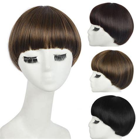 short mushroom style wigs candy school girl students short straight mushroom head