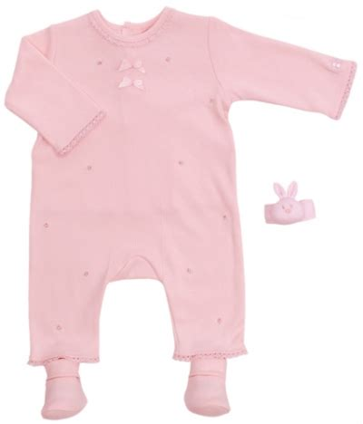 Wrist Rattle And Booties Set emile et sales pink all in one rosebud romper with