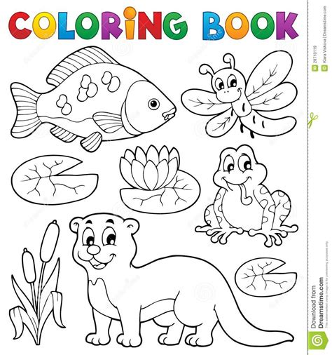 Coloring Book River Fauna Image 1 Royalty Free Stock The Colouring Book