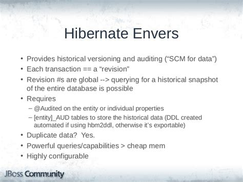 Envers Revisionlistener Exle by Not Just Orm Powerful Hibernate Orm Features And Capabilities