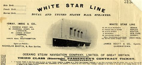 titanic boat tickets a third class steerage passenger s contract ticket for