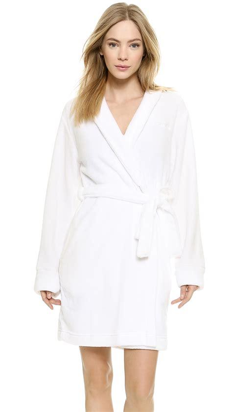 white robe calvin klein fluffy robe white in white lyst
